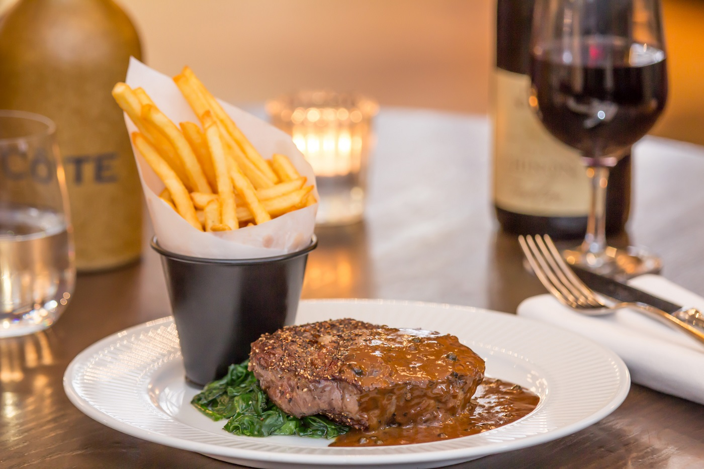 Cote Brasserie steak frites in Milsom Place